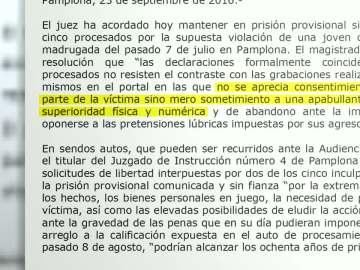 Auto del juez sobre la violación de San Fermín