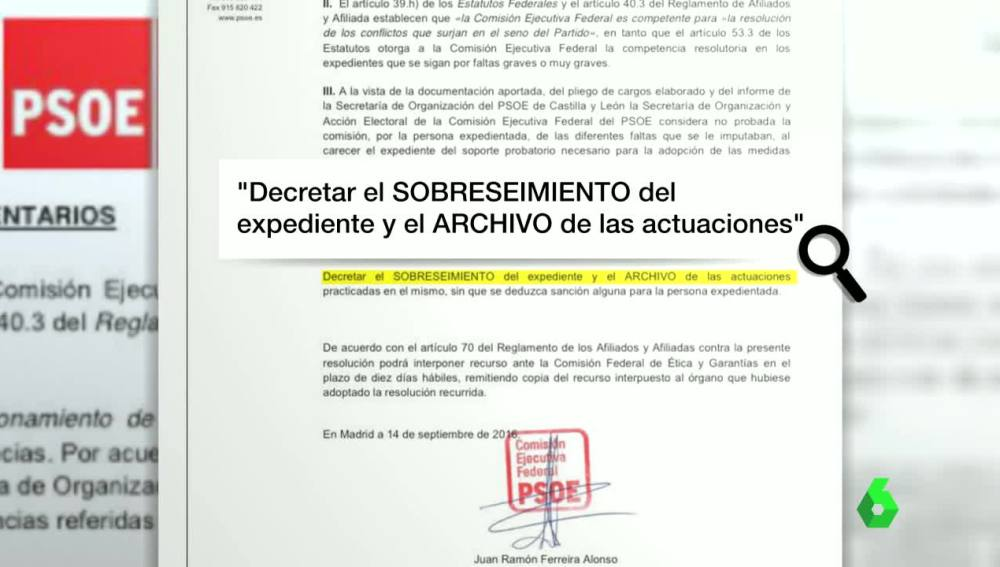 Parte del comunicado sobre el expediente a 12 concejales socialistas
