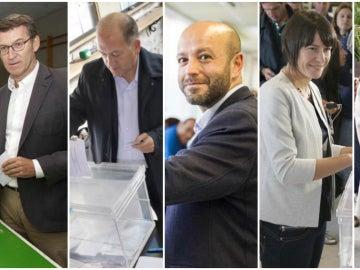 Los candidatos gallegos depositan su voto en las urnas