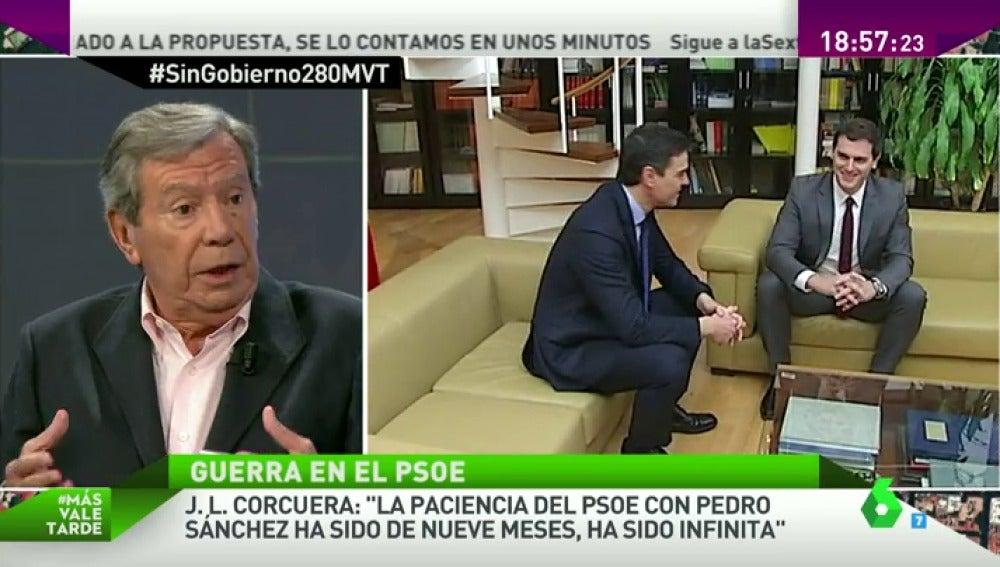"""Frame 225.583788 de: Corcuera: """"Si Sánchez acuerda con Podemos y los independentistas romperá con la historia del PSOE"""""""