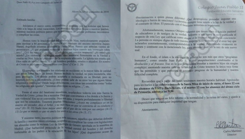 La carta del director del colegio Juan Pablo II de Alcorcón