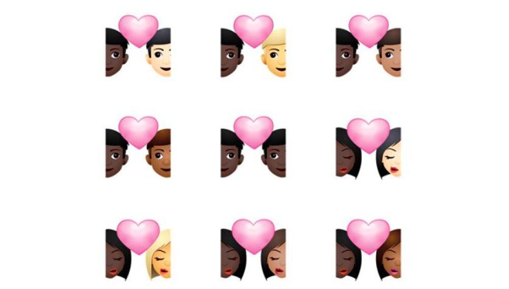 Parejas de diferentes razas en emojis