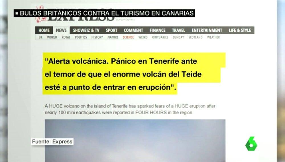 El titular del diario 'Express' sobre la erupción en el Teide