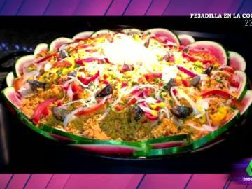 Paella con sandía