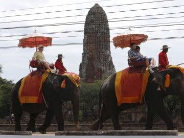 Unos turistas sobre unos elefantes en Tailandia
