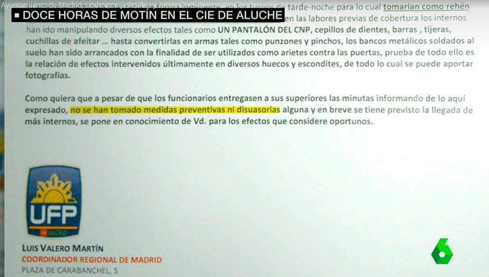 Imagen del informe que aconsejaba actuar en el CIE de Aluche