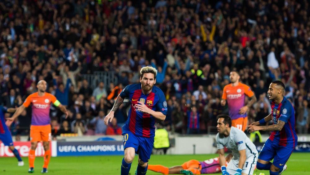 Messi, tras marcar ante el Manchester City