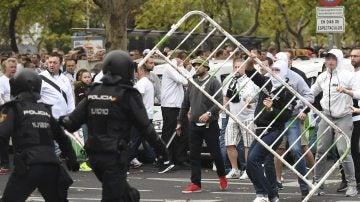 Los aficionados del Legia, antes del partido contra el Real Madrid