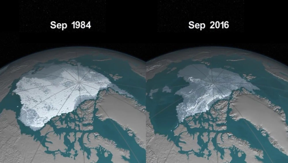 Frame 149.220439 de: De 1984 a 2016: La pérdida de hielo del Ártico se acelera