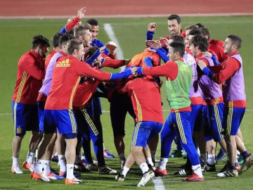 Los jugadores de la Selección se entrenan en la Ciudad del Fútbol de Las Rozas.
