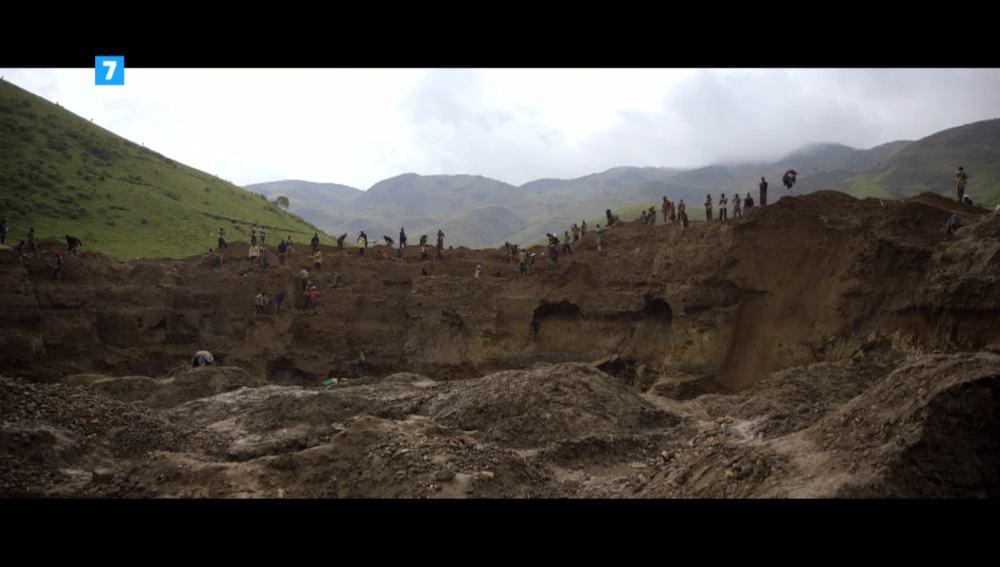 Explotación de coltán en la República Democrática del Congo