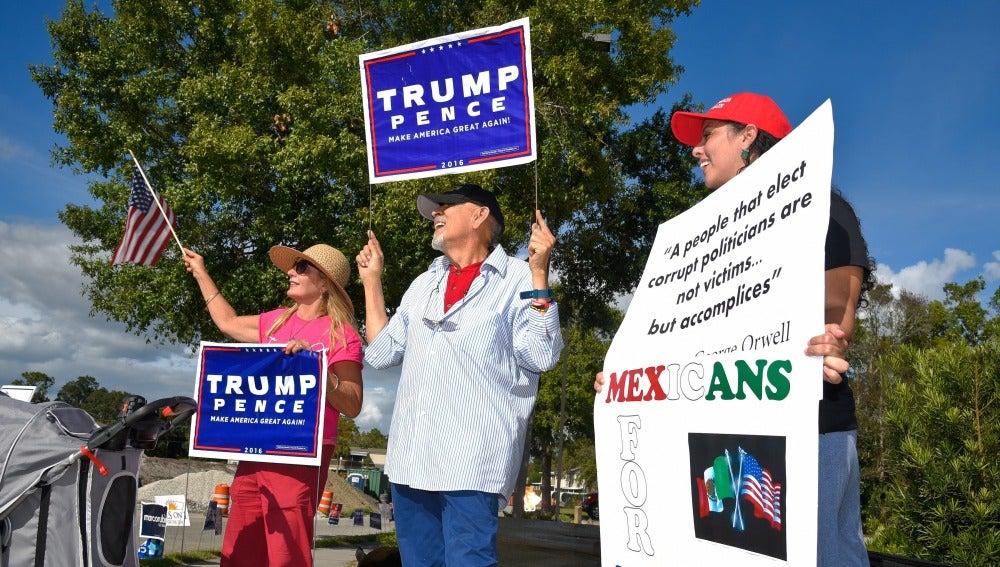 Votantes a favor de Donald Trump en una localidad de Florida