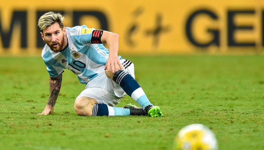 Messi, durante el partido Brasil-Argentina