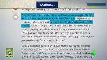 """Frame 148.292259 de: La prensa argentina señala duramente a Leo: """"Se arrastró. Terminemos con Messi y sus amigos"""""""