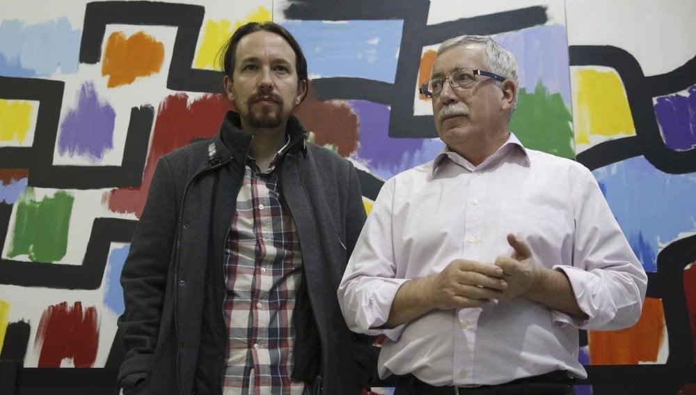 Iglesias y Fernández Toxo tras una reunión