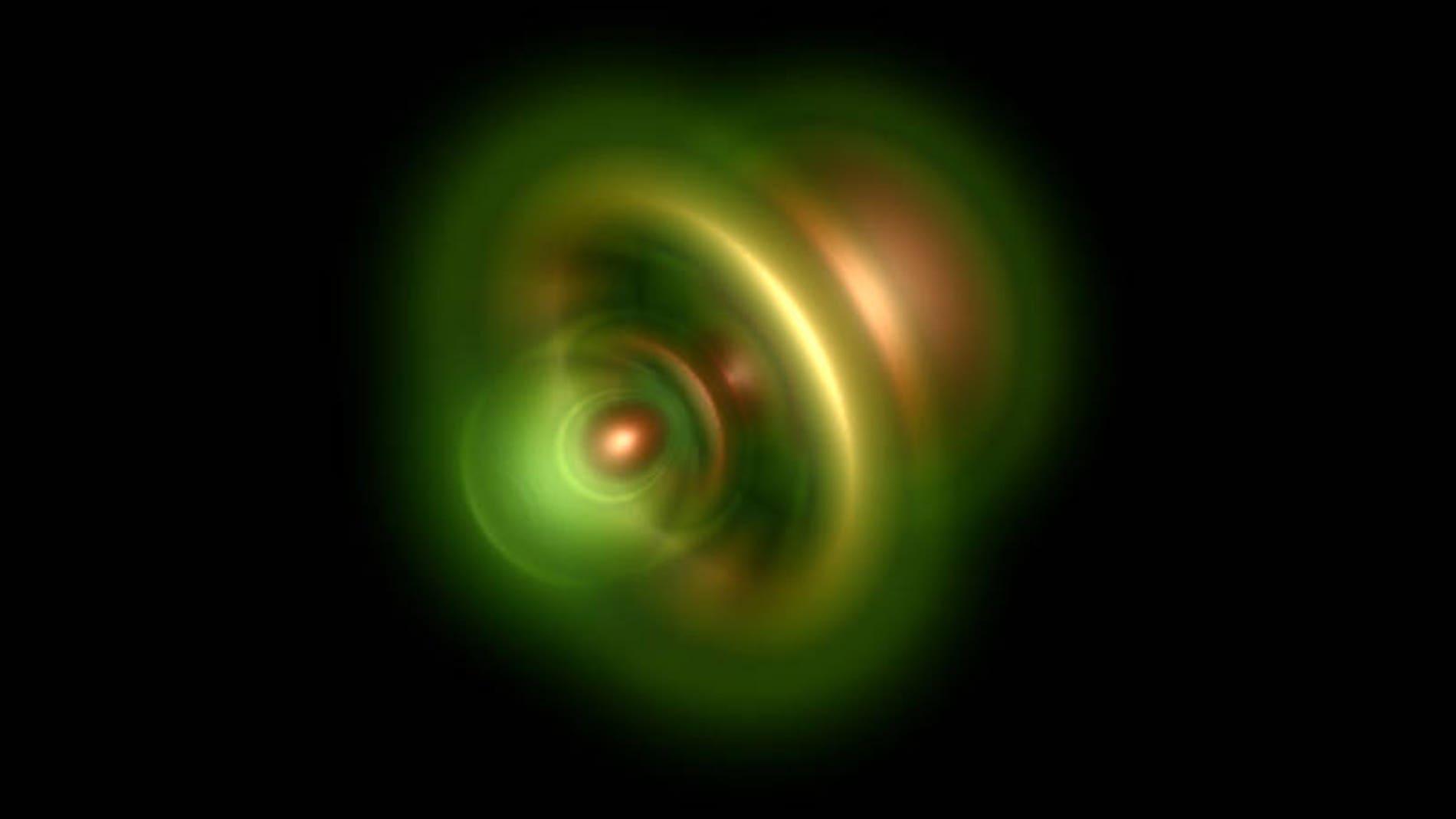 Representación de las posibles posiciones del electrón remanente en un átomo de helio.