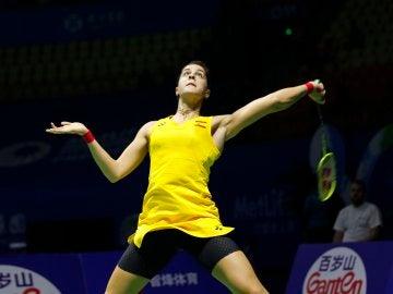 Carolina Marín, en acción durante el Abierto de China