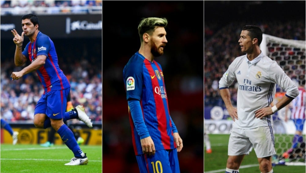 La lucha por el Pichichi, entre Suárez, Messi y Cristiano