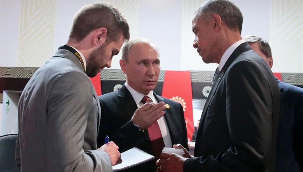 Barack Obama se reúne con Vladimir Putin
