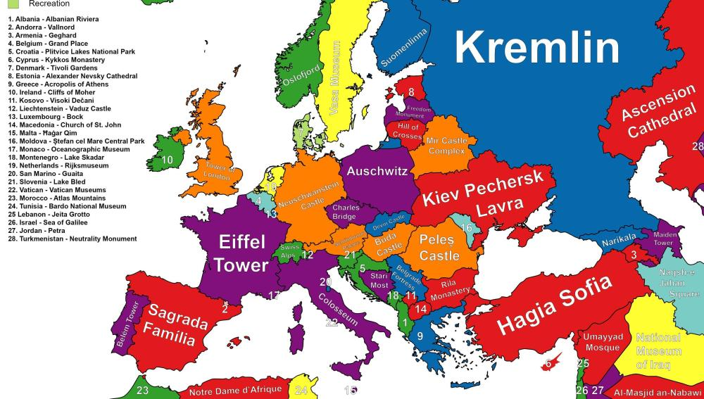 Mapa con los puntos de interés de cada país