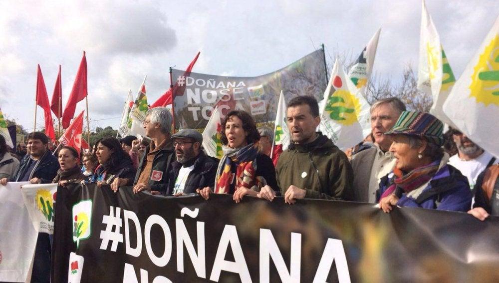 Manifestación en Doñana