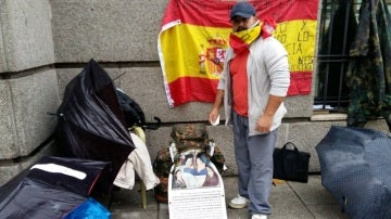 Andrés Merino, exmilitar en huelga de hambre