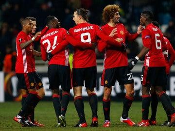 El United celebrando un gol