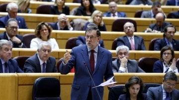 Mariano Rajoy, durante su intervención al inicio del Pleno de la sesión de control al Gobierno
