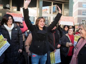 Juana Rivas en la manifestación contra la decisión del juez