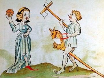 Ilustración medieval de niños jugando con un caballito y una pelota. / ÖNB-Biblioteca Nacional de Austria 12820, fol. 182r, c. 1484-1486.