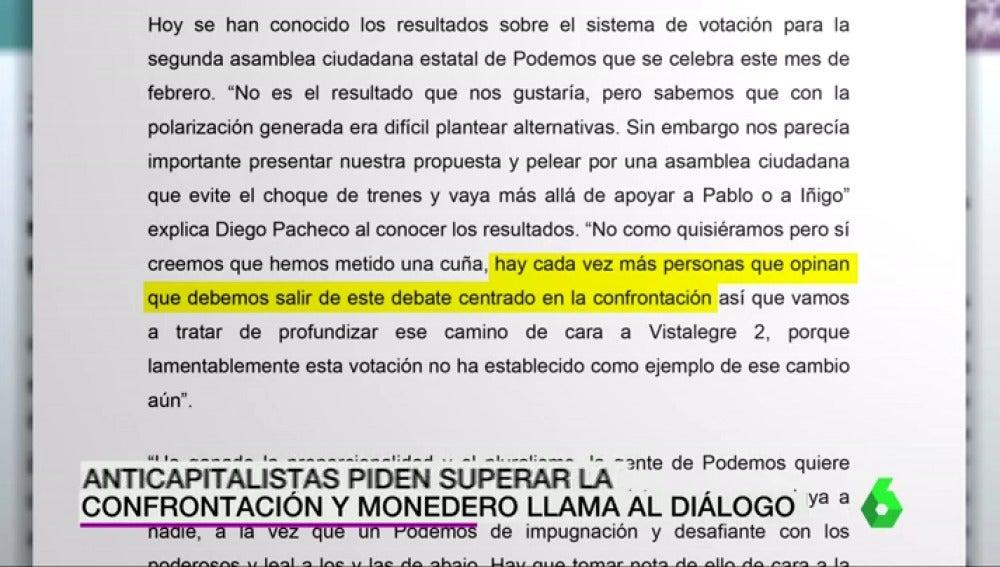 Frame 4.216066 de: Los anticapitalistas de Podemos piden superar la confrontación y Monedero llama al diálogo