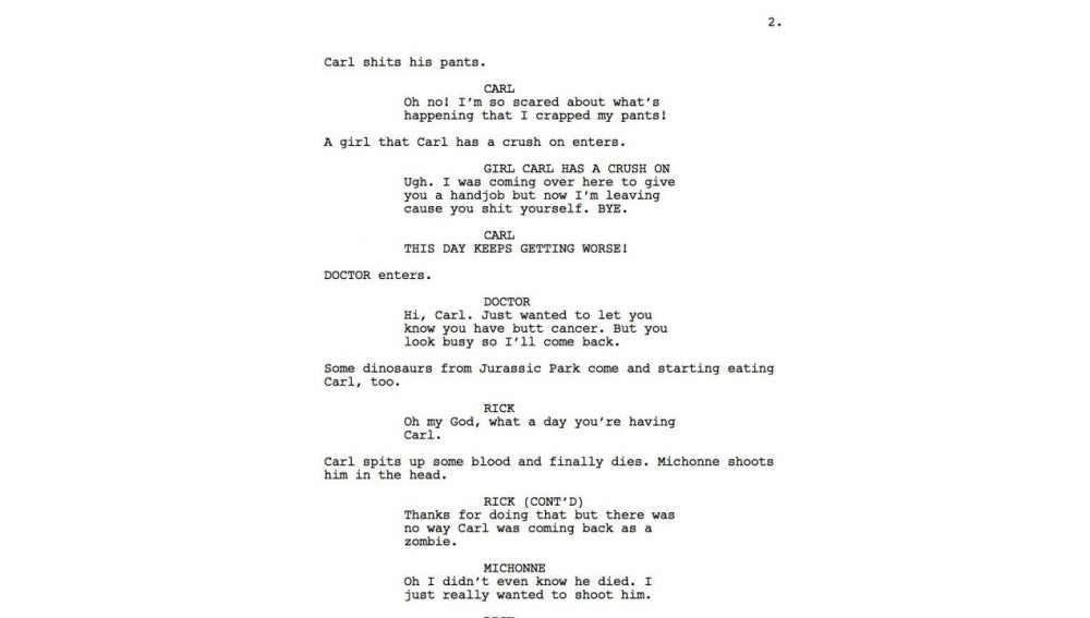 Página original de uno de los guiones de The Walking Dead.