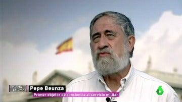 """Frame 43.843397 de: Pepe Beunza se acogió a su derecho de rechazar hacer la mili por motivos ideológicos: """"Me metieron en el calabozo"""""""