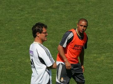 Capello, con Roberto Carlos