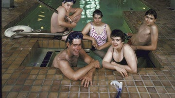 Con su familia. Dos de sus hijos son escritores (Joe Hill y Owen King) y también su mujer, Tabitha.