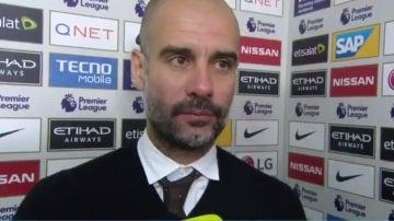 Guardiola, durante la entrevista con la BBC