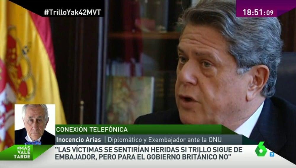 """Frame 68.255796 de: Inocencio Arias: """"Las víctimas se sentirían heridas si Trillo sigue de embajador, pero para el gobierno británico no"""""""