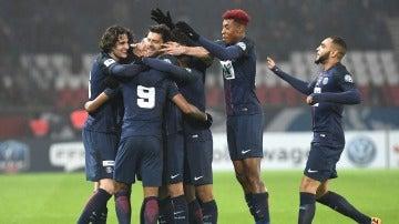 El PSG celebrando uno de los goles frente al Bastia