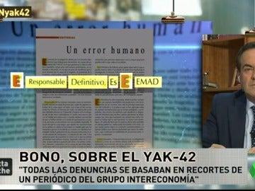 """Frame 23.172532 de: José Bono, sobre el acróstico del Yak-42: """"Días después la revista oficial del ministerio hizo un cínico juego literario"""""""