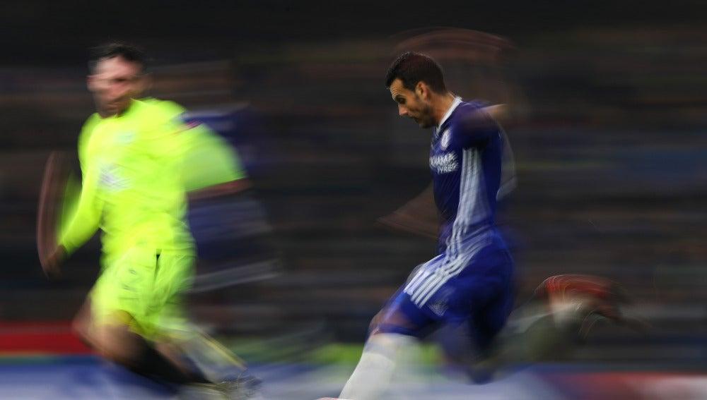 Pedro en el partido frente al Peterborough