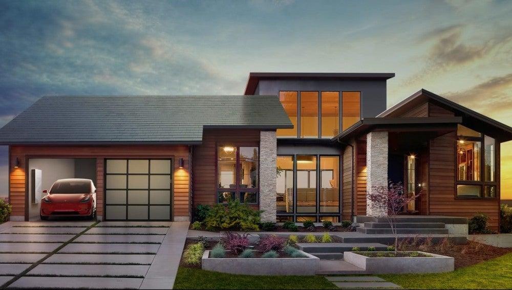 Imagen promocional del tejado solar de Tesla
