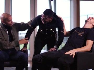 Henry, Pogba e Ibrahimovic bromean durante una entrevista