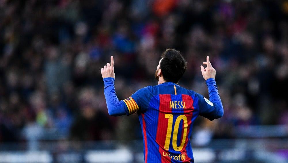 Leo Messi celebra su gol ante Las Palmas