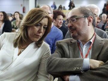 La presidenta andaluza, Susana Díaz, y el presidente aragonés, Javier Lambán, durante la reunión del Comité Federal del PSOE