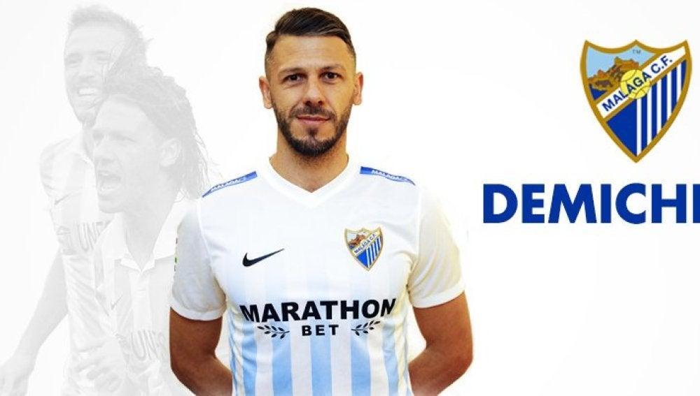 Martín Demichelis con la camiseta del Málaga