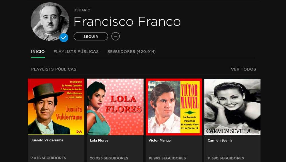 Perfil de Francisco Franco en Spotify