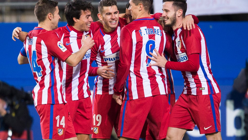 El Atlético celebra el empate contra el Eibar