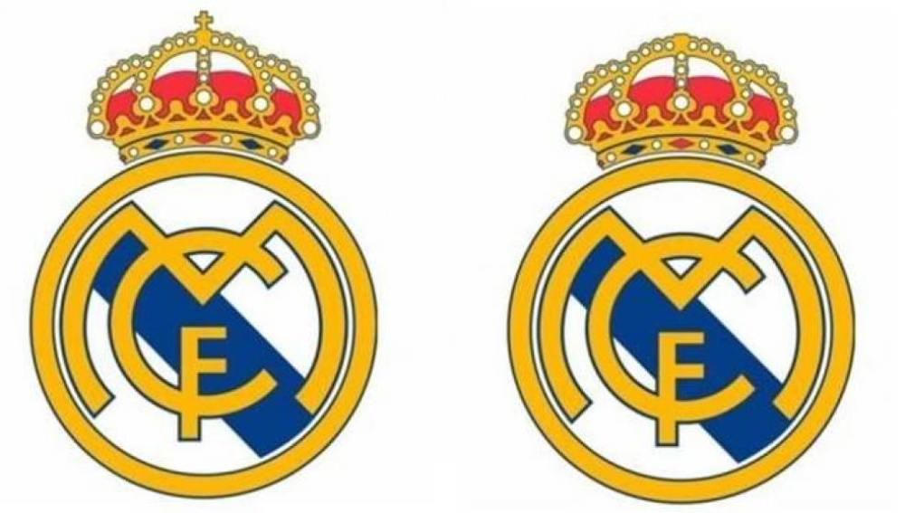 El escudo del Real Madrid con y sin cruz