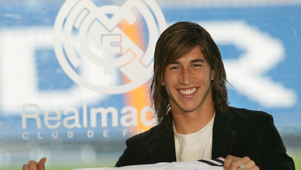 Sergio Ramos, el día de su presentación con el Real Madrid