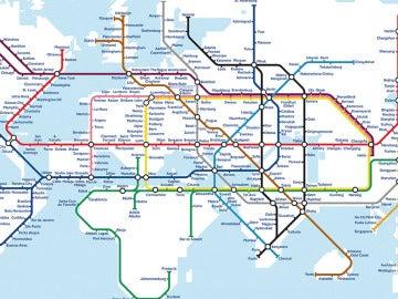 Plano de metro mundial imaginado por Mark Ovenden